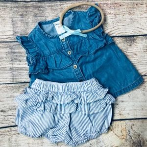 Baby Girl 0-3m denim shirt ruffle short & bow